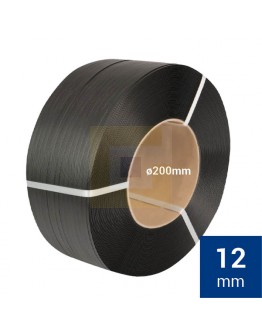 PP Band zwart 12mm, rol met 3000 mtr