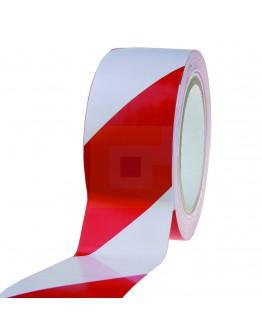 Vloermarkeringstape PVC 150my rood/wit