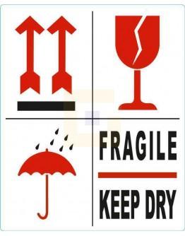 Waarschuwingsetiket BREEKBAAR - FRAGILE - KEEP DRY - PIJL - GLAS, 500/rol