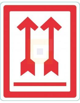 """Waarschuwingsetiket RODE PIJLEN: """"Deze kant boven"""",  500/rol"""