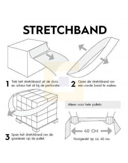Stretchband - Palletelastiek van folie - 100 x 1200mm - Box 100st.