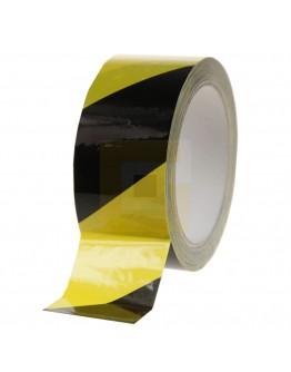Vloermarkeringstape 100my PVC - geel/zwart 50mm/33m