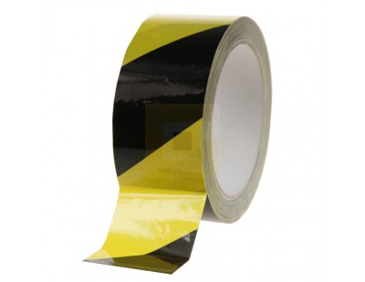 Vloermarkeringstape 100my PVC - geel/zwart 50mm/33m  Tape - Plakband