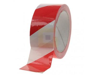 Vloermarkeringstape 115my PVC rood/wit Tape - Plakband